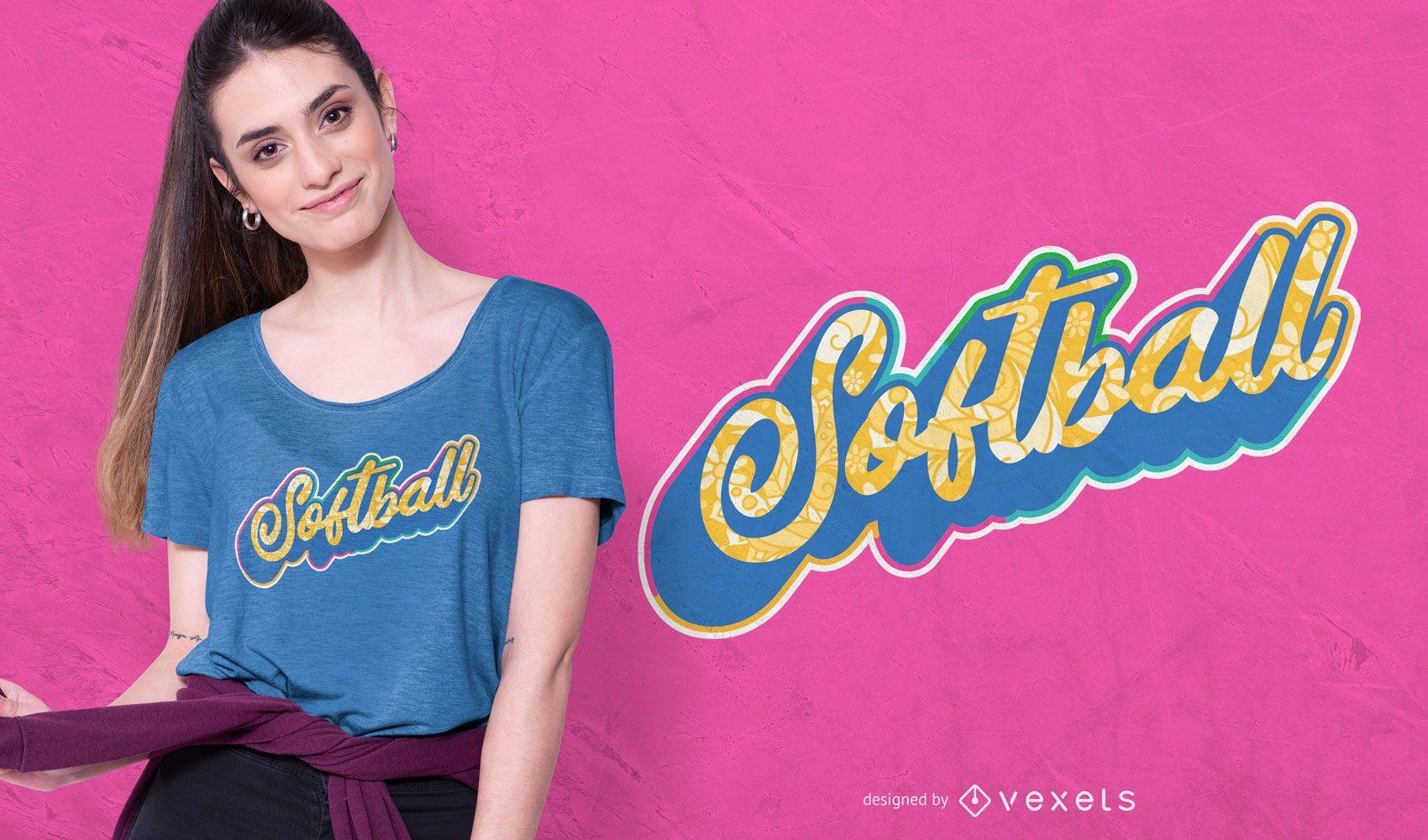 Softball lettering t-shirt design