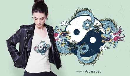 Design de t-shirt do dragão yin yang