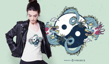 Diseño de camiseta de dragón yin yang