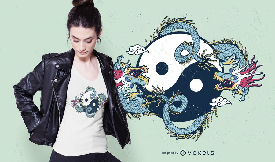 Dragon yin yang t-shirt design