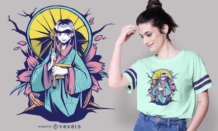 Diseño de camiseta de chica anime paraguas.