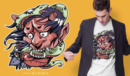 Diseño de camiseta de demonio serpiente