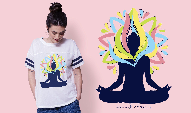 Diseño de camiseta de yoga energy