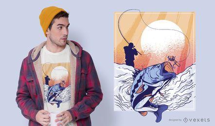 Desenho de t-shirt de pescador