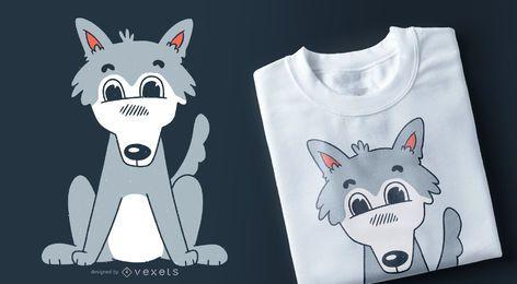 Diseño de camiseta de lobo lindo