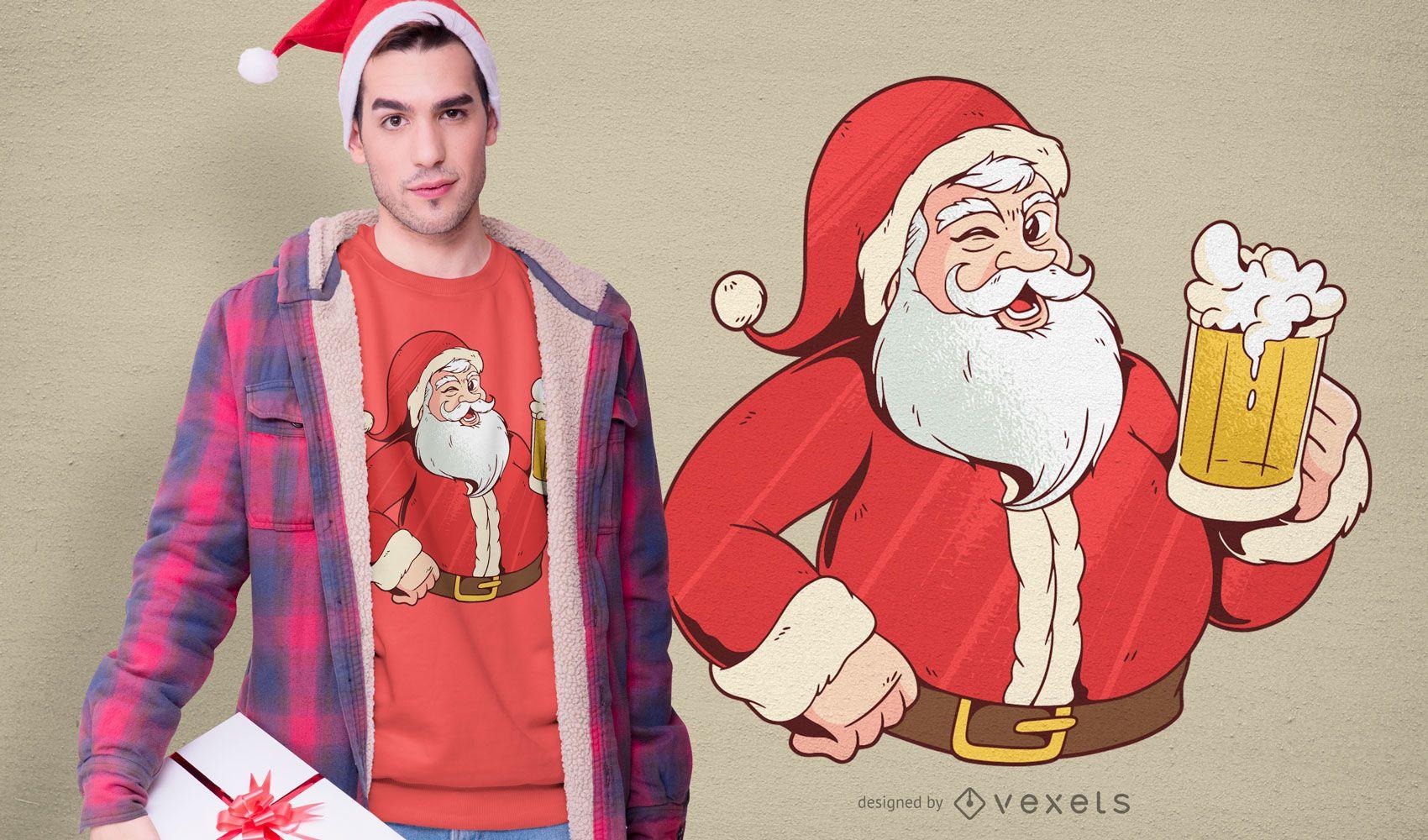 Diseño de camiseta de cerveza de Santa Claus