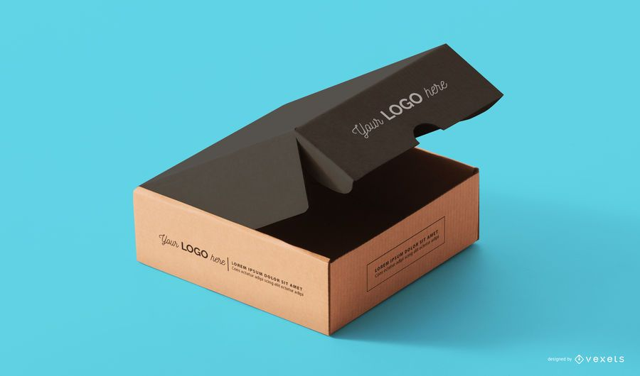 Box packaging mockup template psd