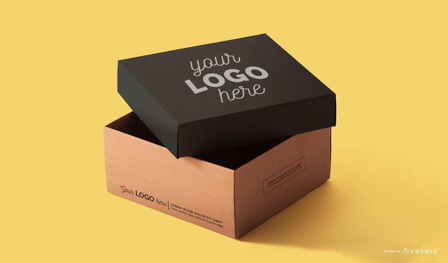 Design de maquete de caixa de embalagem