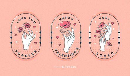 Conjunto de distintivo de mãos dia dos namorados