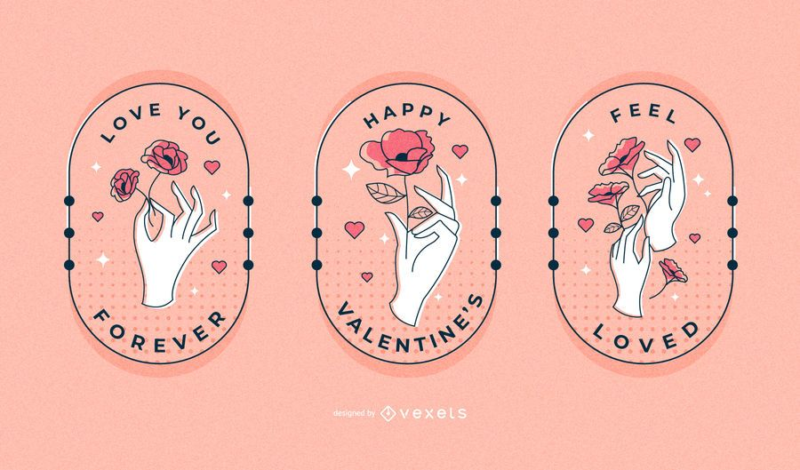 Valentines hands badge set
