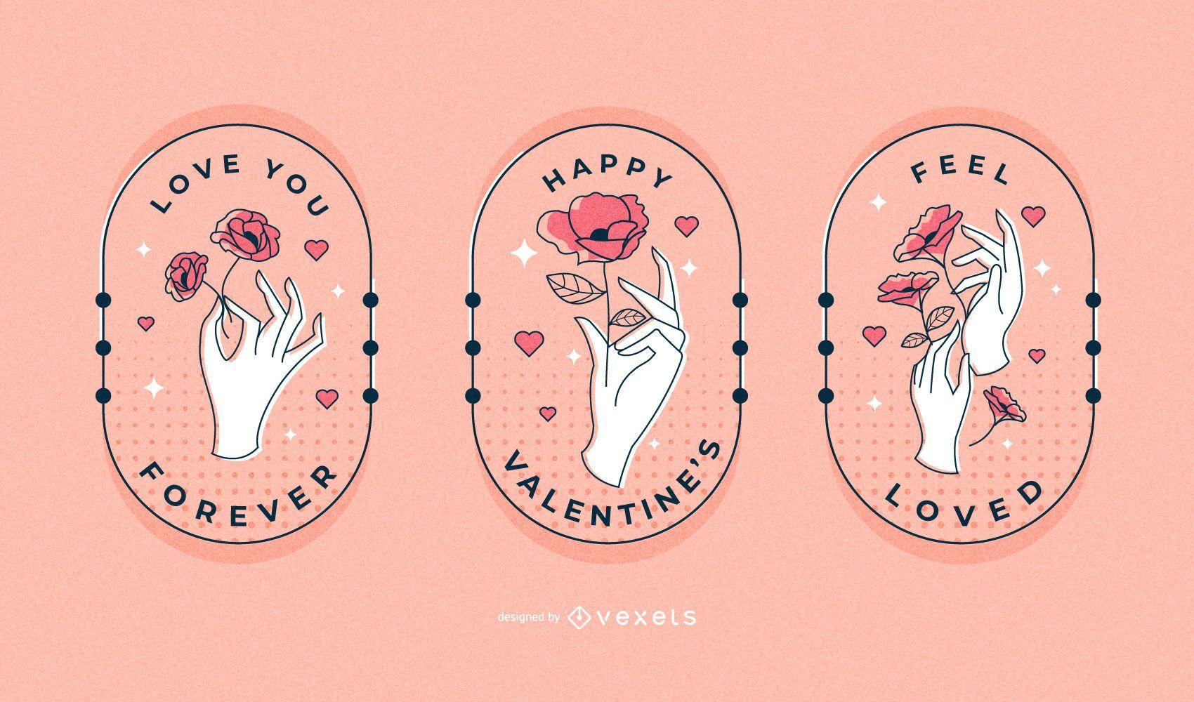 Conjunto de emblemas de mãos de dia dos namorados