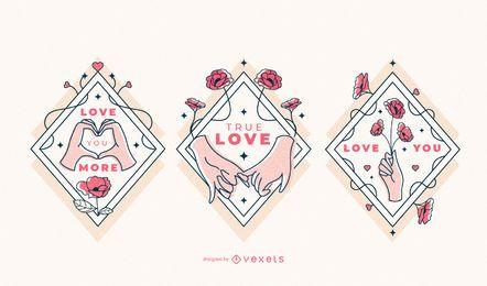 Dia dos namorados amor conjunto de distintivo de mãos
