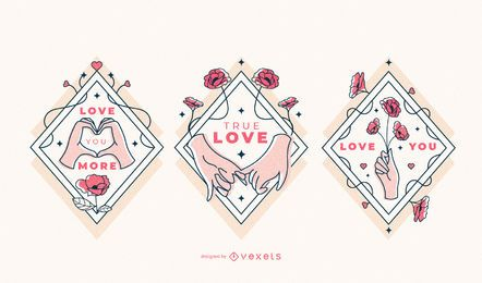 Valentines love hands badge set