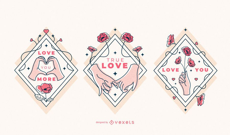 Valentines love hands badge set