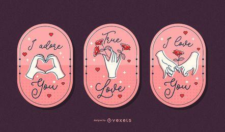 Conjunto de insignia de manos de San Valentín