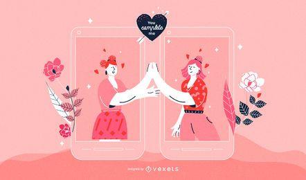 Ilustração de casal feminino para dia dos namorados