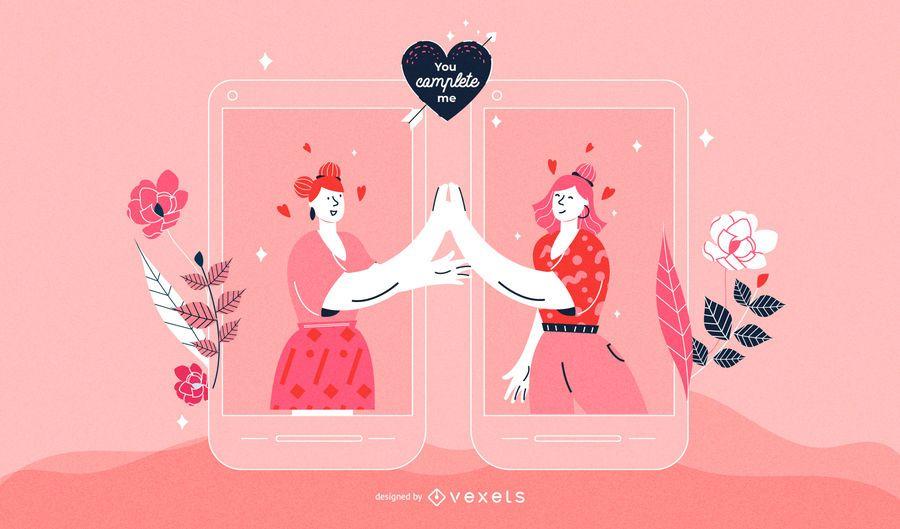 Ilustração de casal de mulheres de dia dos namorados