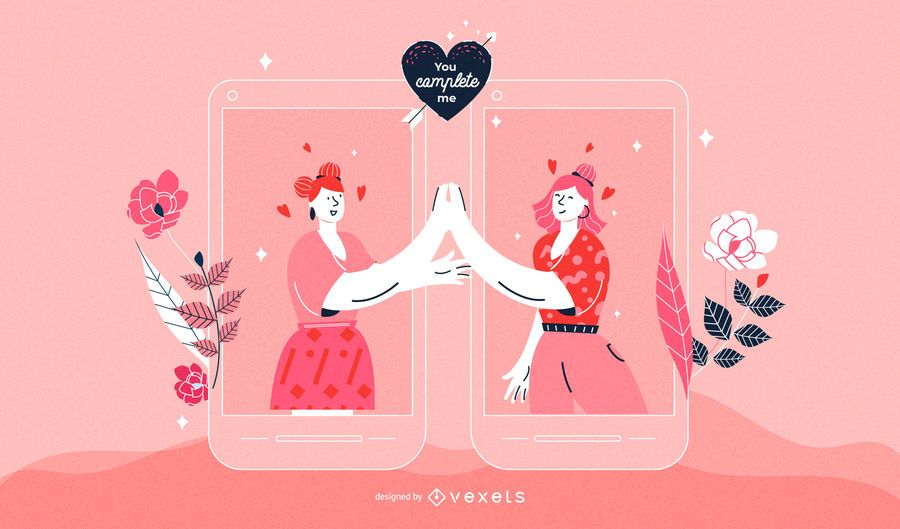 Valentine's Day Women Couple Illustration