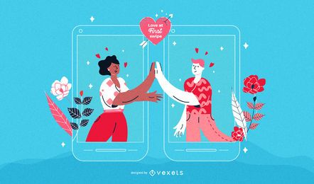 Valentine's Day Men Couple Illustration