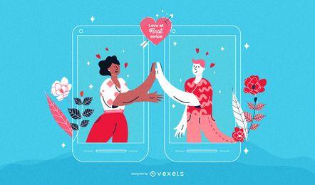 Valentinstag-Mann-Paar-Illustration