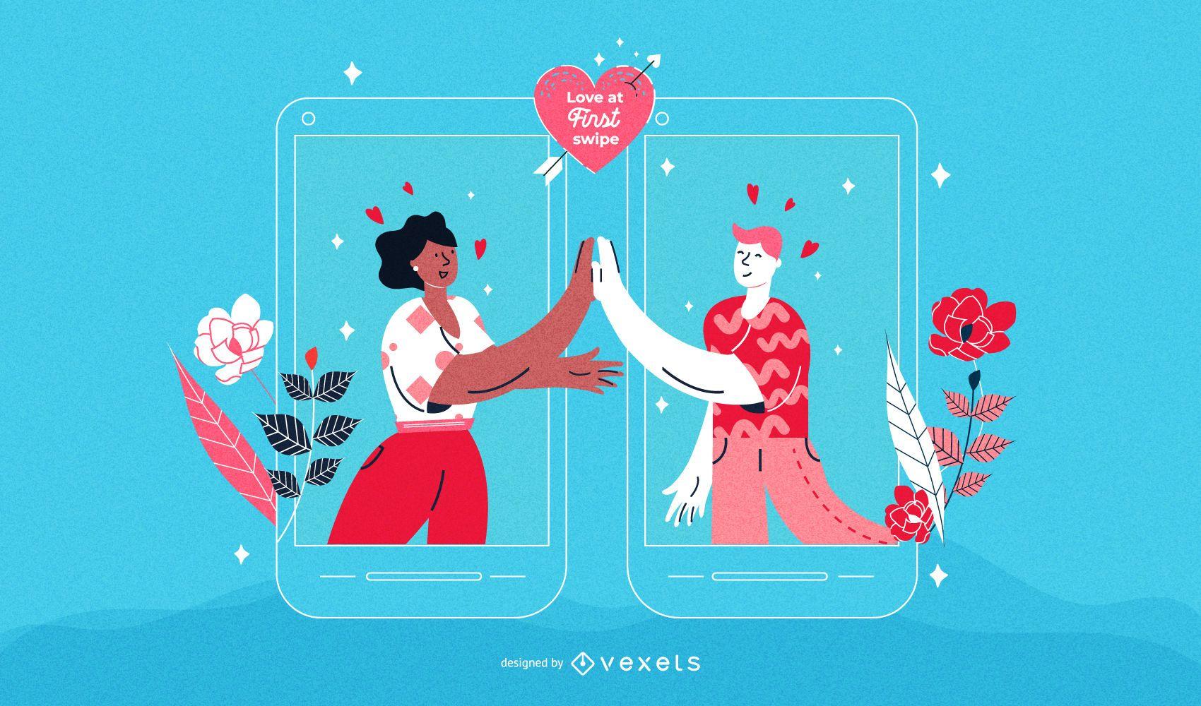 Valentine's Day Men Couple Illustration
