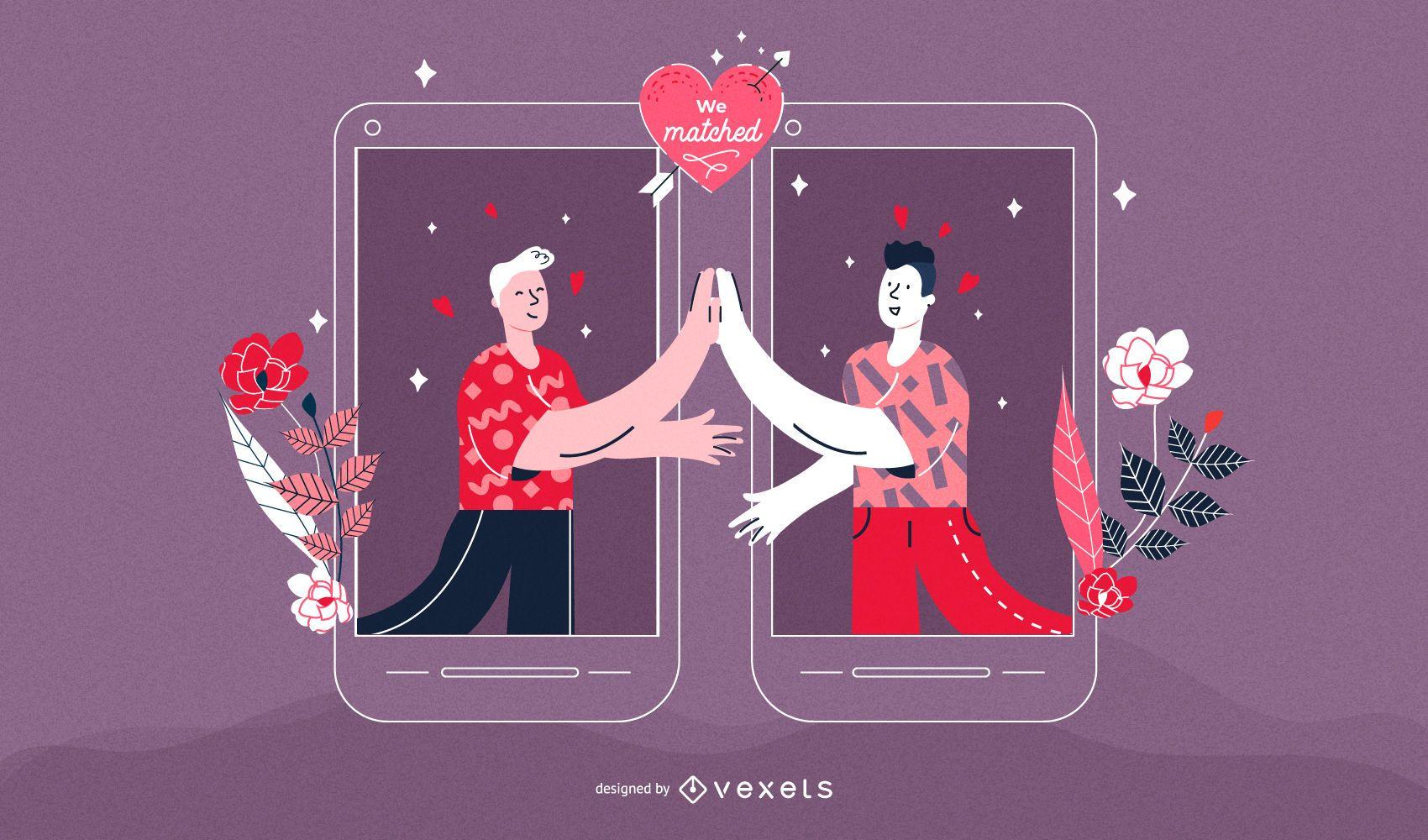 Matching Men Couple Valentine's Illustration