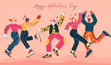 Valentinstag-Leute-Illustrations-Satz