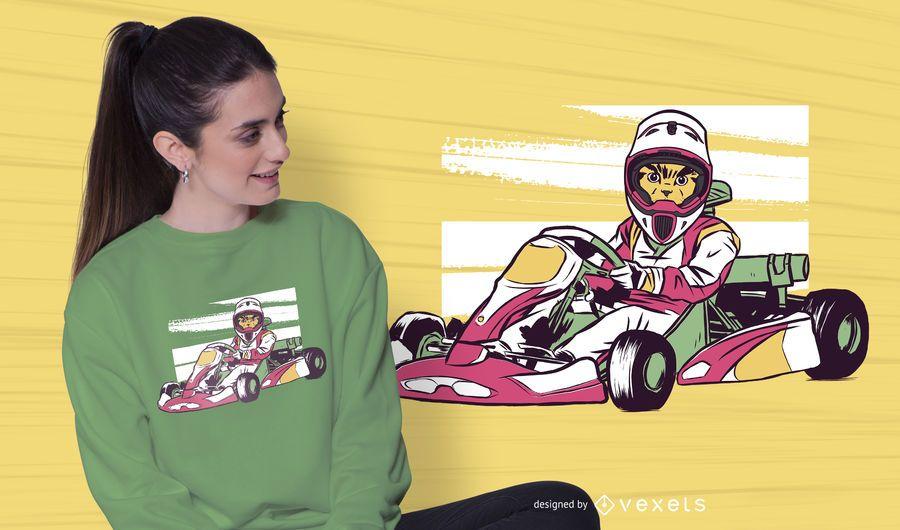 Diseño de camiseta de gato de carreras