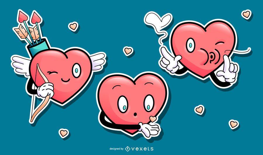Conjunto de corações felizes de desenhos animados para namorados