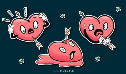 Conjunto de desenhos animados engraçados corações dos namorados