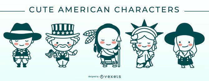Lindo conjunto de caracteres de trazo americano