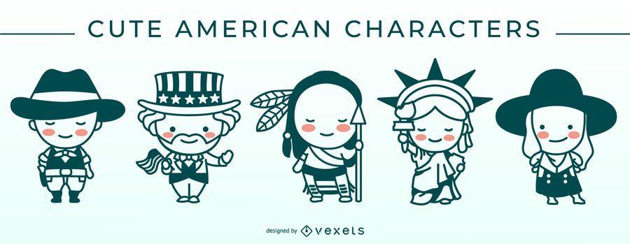 Cute american stroke character set