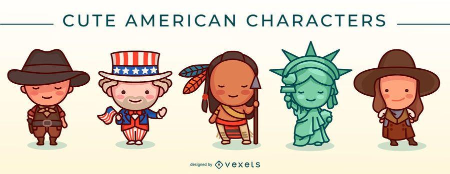 Lindo conjunto de caracteres americanos