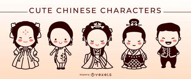 Lindo conjunto de caracteres de trazo chino