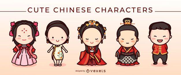 Conjunto de caracteres chineses fofos