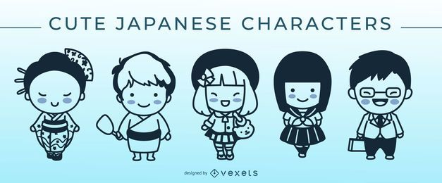 Conjunto de caracteres de traço japonês bonito