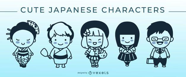 Conjunto de caracteres de trazo japonés lindo