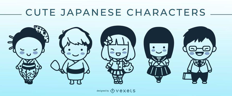 Cute japanese stroke character set