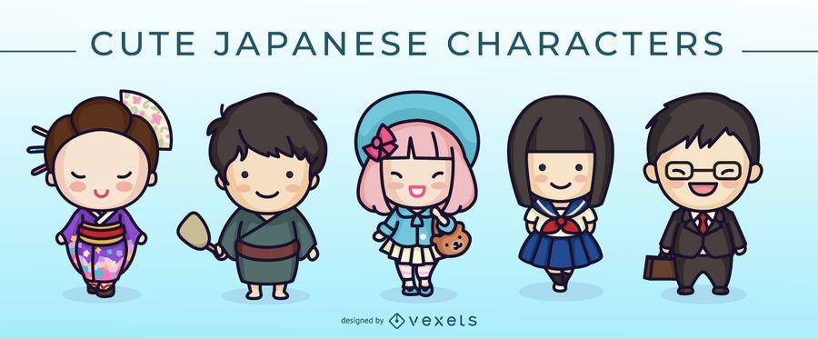 Conjunto de caracteres japonês bonito