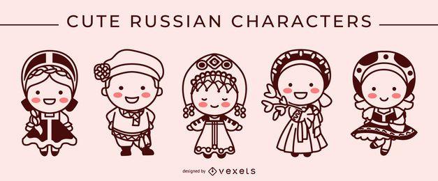 Conjunto de caracteres bonito traço russo