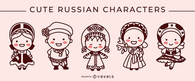 Cute russian stroke character set