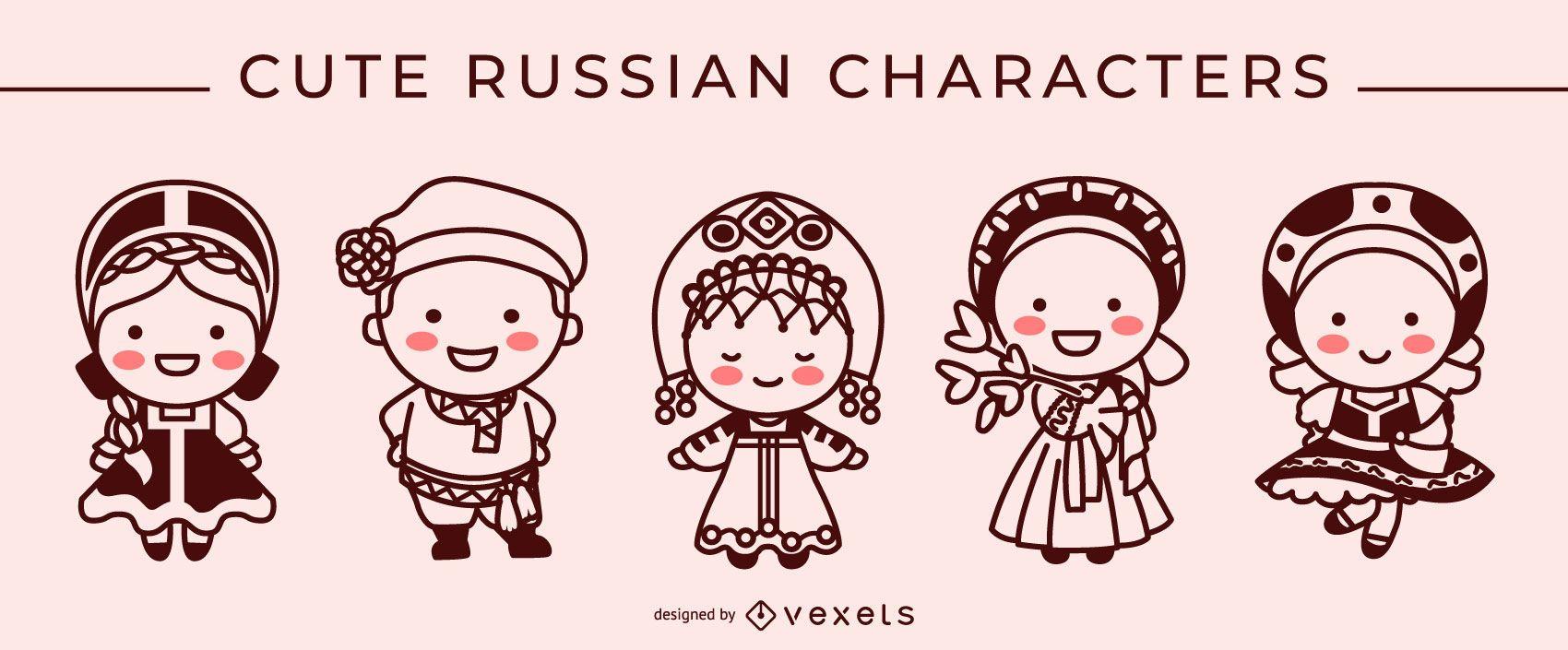 Cute russian stroke character set