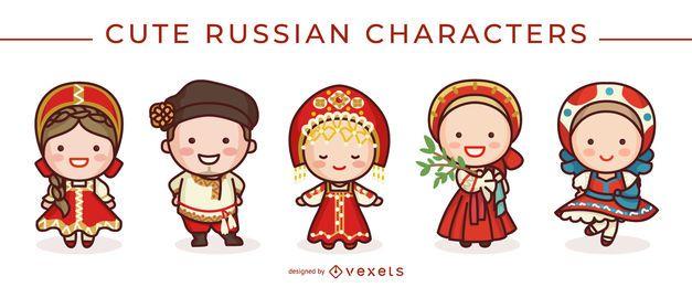 Lindo conjunto de caracteres rusos