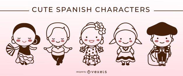 Conjunto de caracteres de traço espanhol bonito