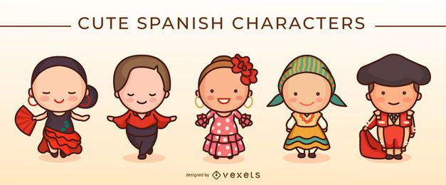 Conjunto de caracteres espanhol bonito