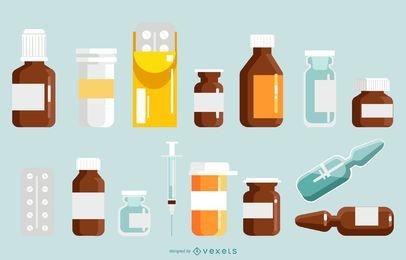 Conjunto de diseño de botella de píldora de farmacia