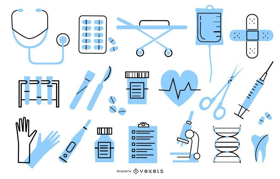Pacote de design de elemento hospitalar