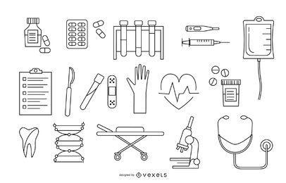 Paquete de diseño de elementos de hospital de accidente cerebrovascular