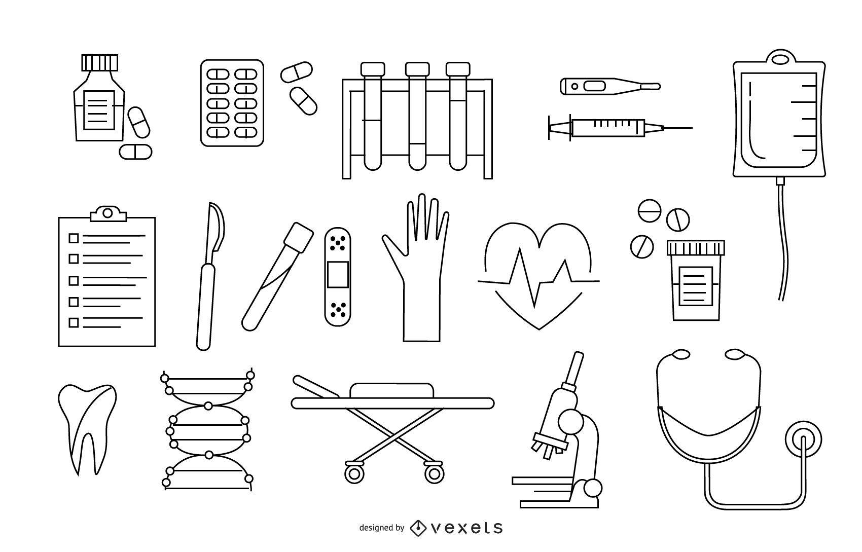 Paquete de diseño de elementos de Stroke Hospital