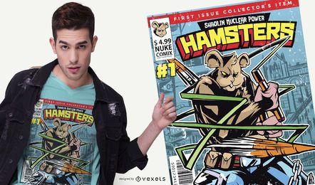 Diseño de camiseta Comic Cover Hamster